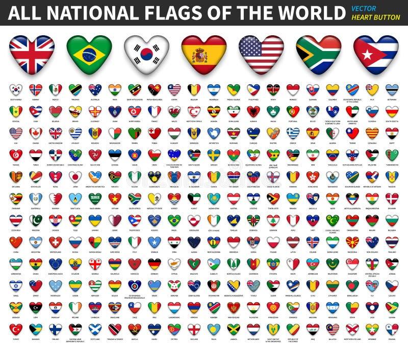 Tous les drapeaux nationaux du monde Conception de bouton de coeur Vecteur illustration libre de droits