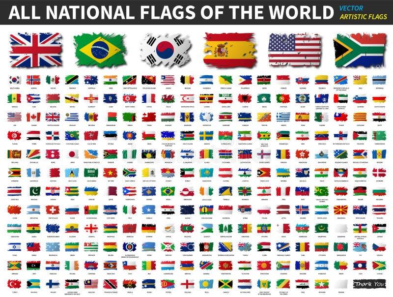 Tous les drapeaux nationaux du monde E Vecteur illustration de vecteur