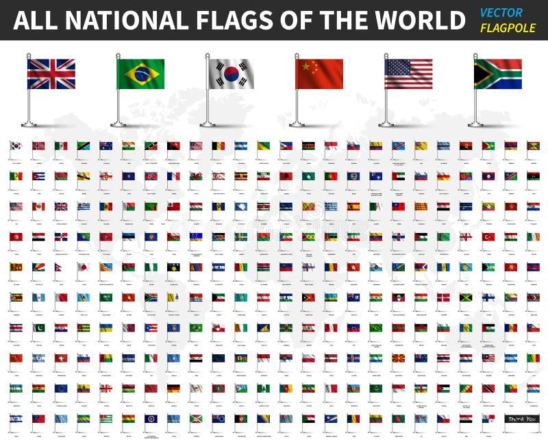 Tous les drapeaux nationaux du monde Le tissu de ondulation réaliste avec le mât de drapeau et l'ombre conçoivent Vecteur illustration stock