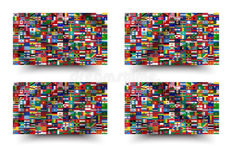 Tous les drapeaux nationaux du monde style d'ondulation et de fond Vecteur illustration de vecteur