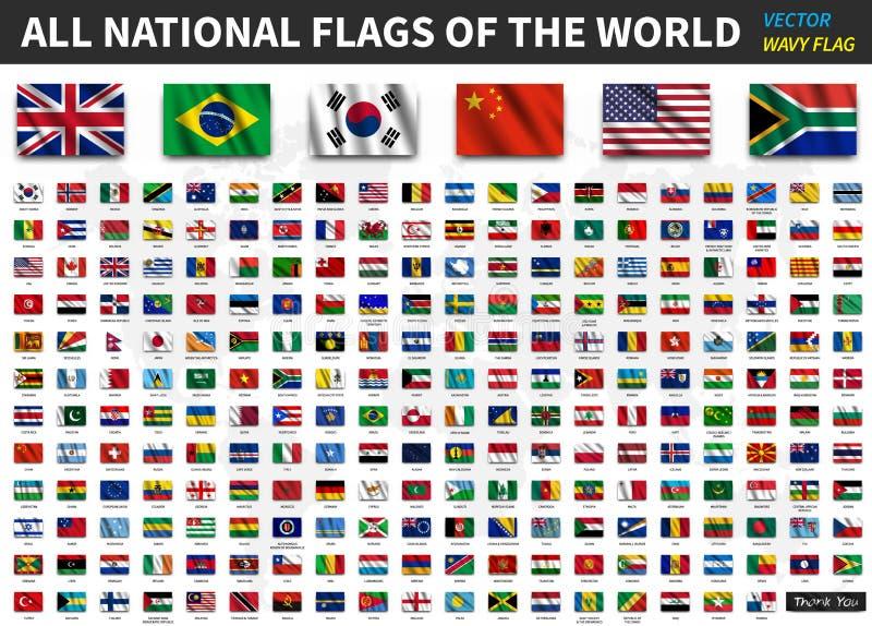 Tous les drapeaux nationaux du monde Texture de ondulation réaliste de tissu avec la conception d'ombre Vecteur illustration stock
