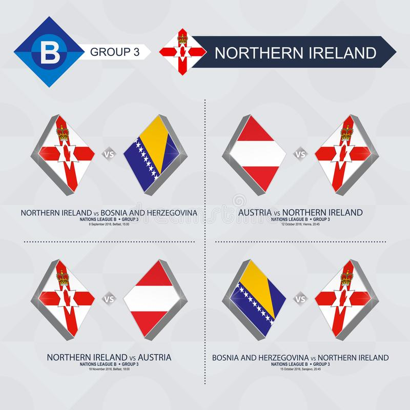 Tous les jeux de l'Irlande du Nord dans la ligue de nations du football illustration stock