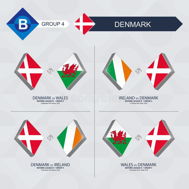 Tous les jeux du Danemark dans la ligue de nations du football illustration stock