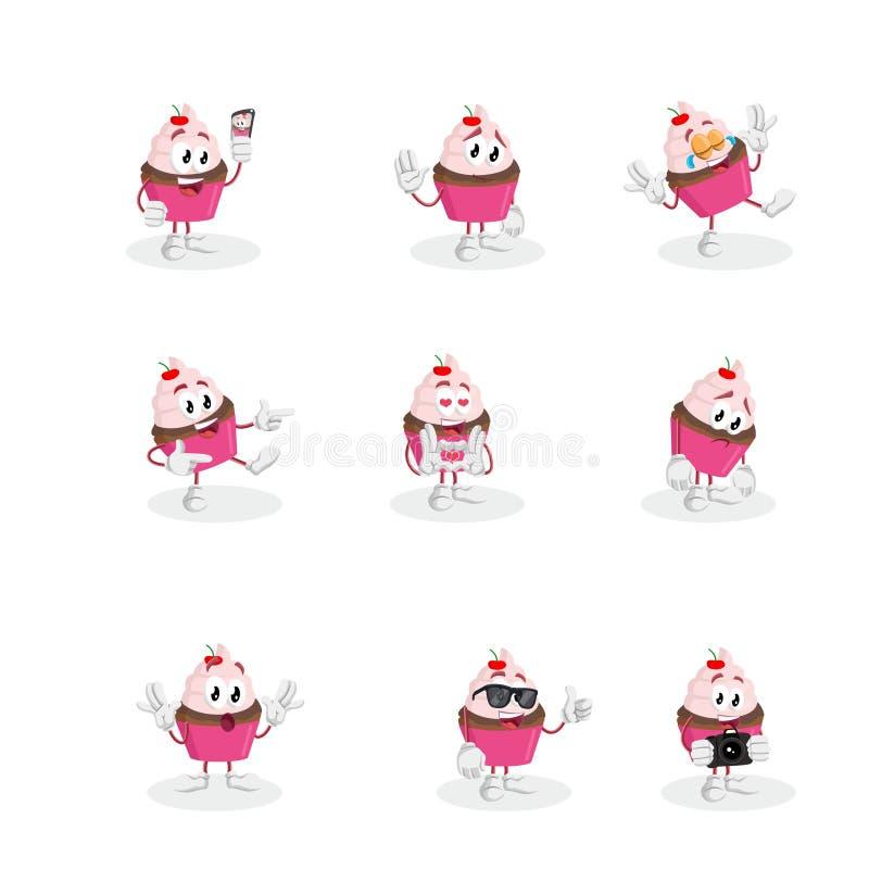 Tous les mascotte et fond de petit gâteau d'ensemble image libre de droits