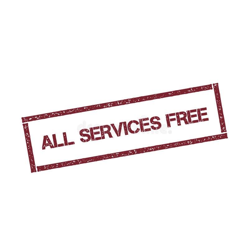 Tous les services libèrent le timbre rectangulaire illustration stock