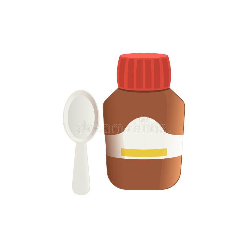 Toussez la médecine dans l'illustration brune de vecteur de bouteille en verre et de cuillère sur un fond blanc illustration de vecteur
