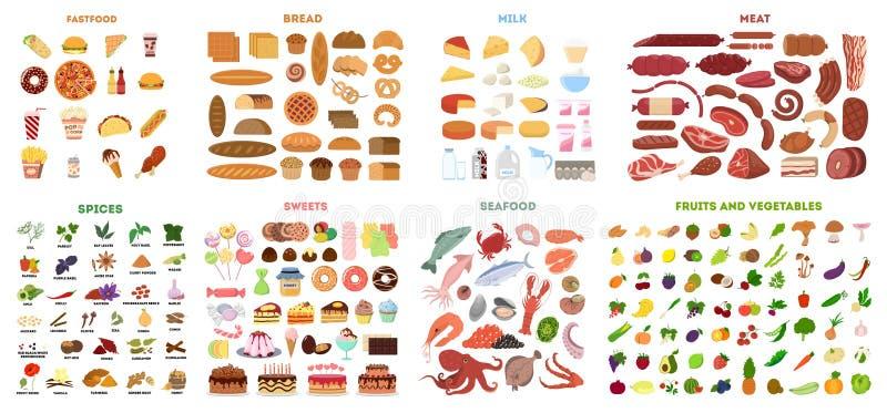Tout l'ensemble de nourriture photo libre de droits
