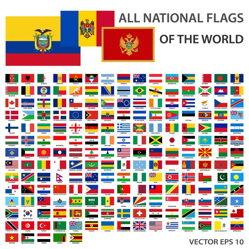 Tout l'ensemble de rectangle de drapeaux de fonctionnaire du monde Accomplissez la collection de drapeaux nationaux illustration libre de droits