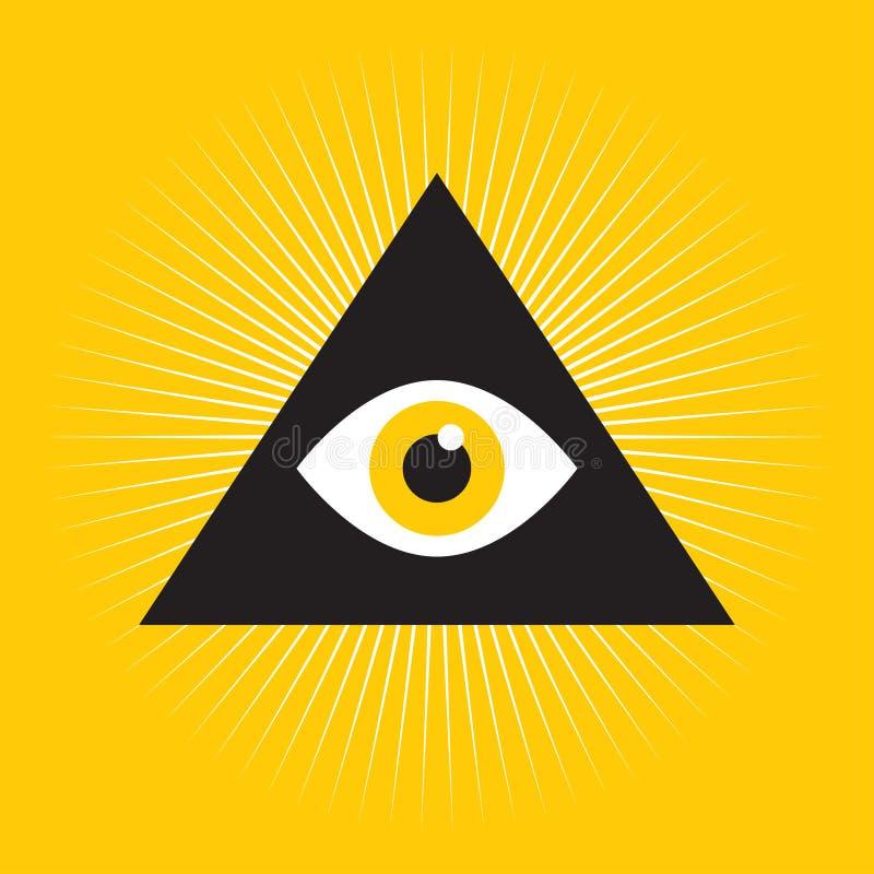Tout l'oeil voyant à l'intérieur de pyramide de triangle illustration libre de droits
