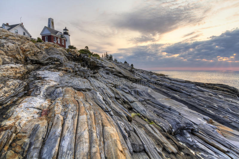 Tout le point de roches à Pemaquid photo stock
