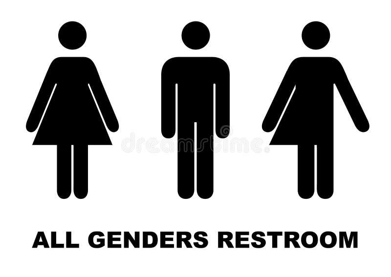 Tout le signe de toilettes de genre Mâle, transsexuel féminin Illustration de vecteur illustration stock