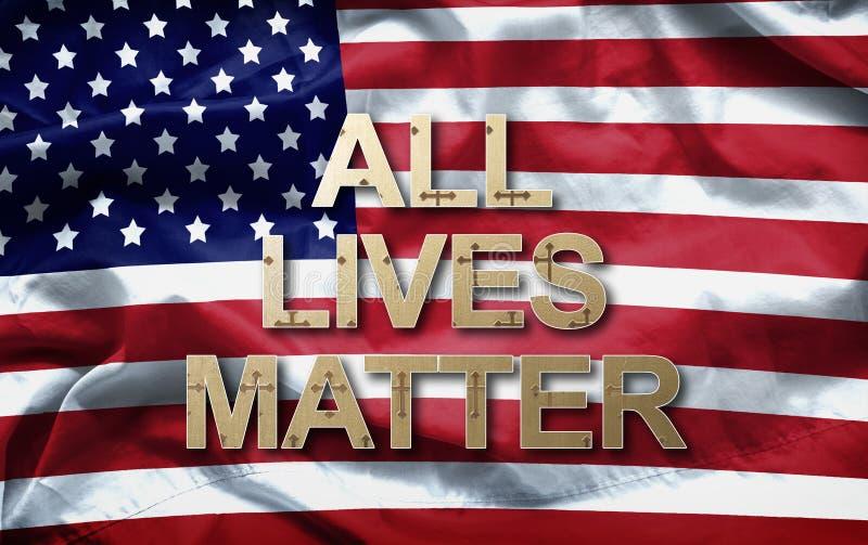 Tout le slogan de matière des vies sur le fond de drapeau américain anti campagne de violence photo stock