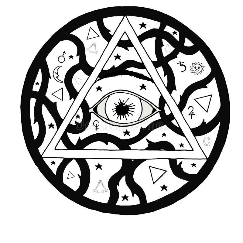 Tout le symbole voyant de pyramide d'oeil dans la conception de gravure de tatouage illustration stock