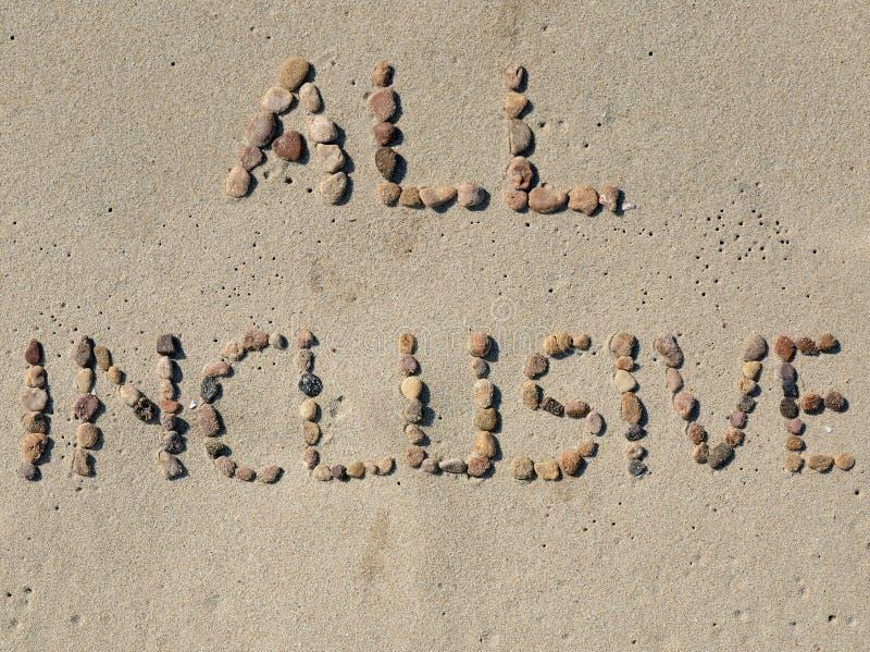 Tout le texte inclus sur le sable de plage photos libres de droits