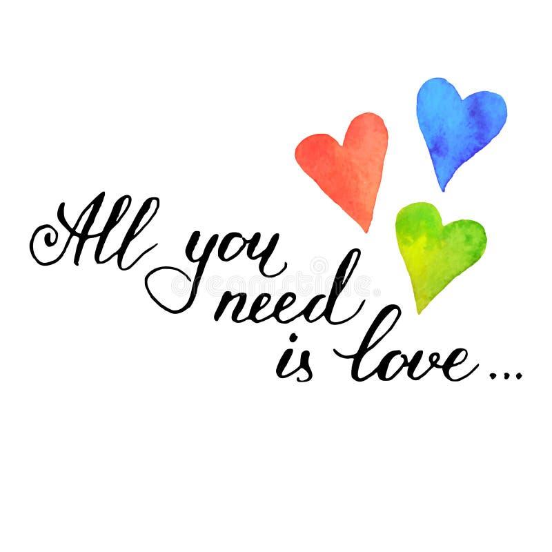 Tout que vous avez besoin est amour illustration libre de droits