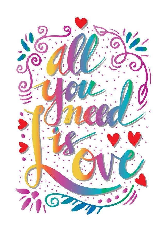 Tout que vous avez besoin est amour illustration stock