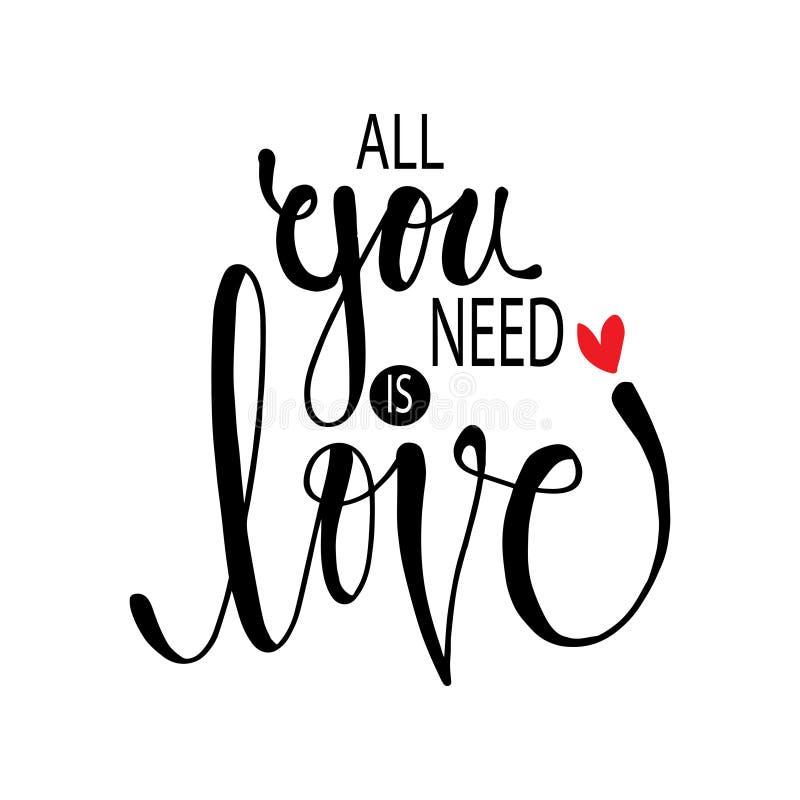 Tout que vous avez besoin est amour Message inspiré illustration stock