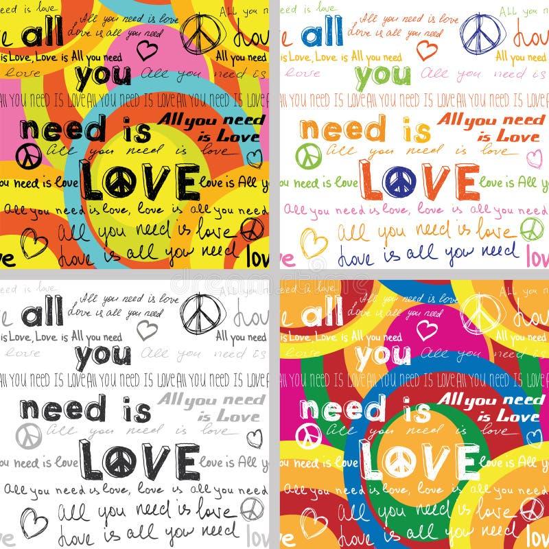 Tout que vous avez besoin est amour (placez de 4 milieux sans couture avec le texte écrit de main) illustration libre de droits