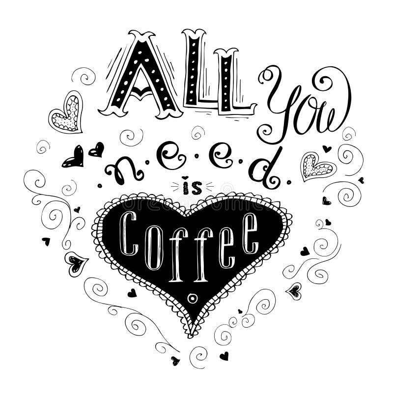 Tout que vous avez besoin est café - citation tirée par la main de lettrage illustration de vecteur