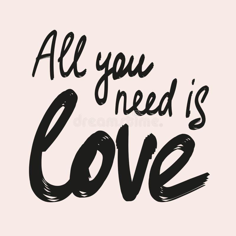 Tout que vous avez besoin est citation de lettrage de calligraphie d'amour Illustration tir?e par la main de vecteur illustration libre de droits