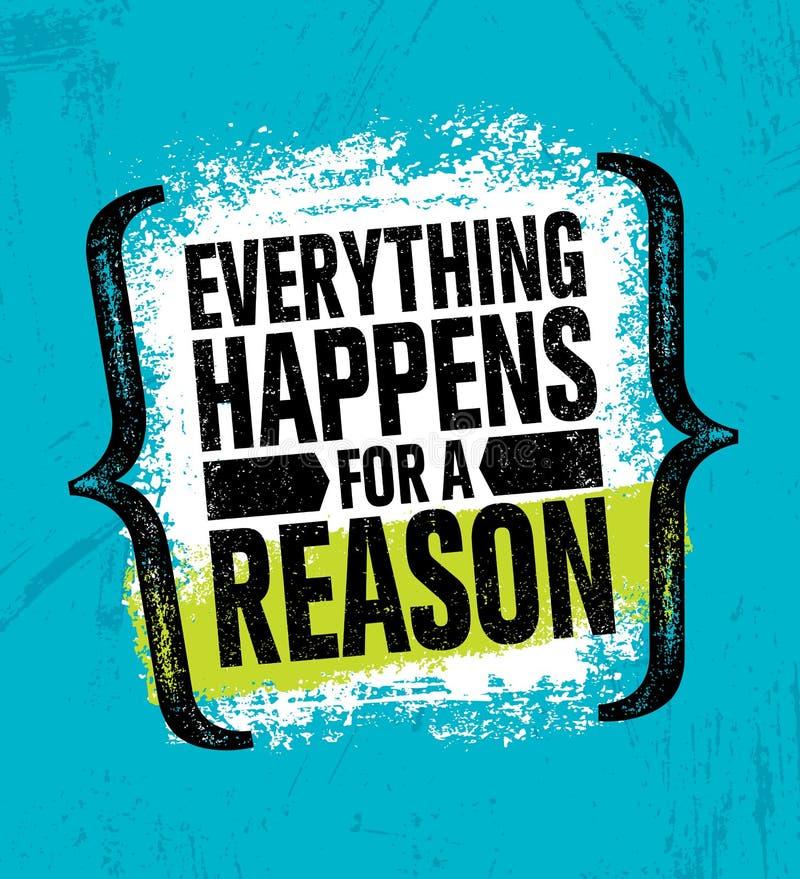 Tout se produit pour une raison Calibre créatif de inspiration d'affiche de citation de motivation Conception de bannière de typo illustration de vecteur
