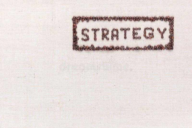 Toute de mot la strat?gie ? l'int?rieur d'un rectangle faite utilisant des grains de caf? tir?s ? partir d'en haut, align? vers l image stock
