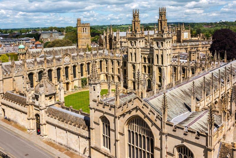 Toute l'université d'âme, Université d'Oxford image libre de droits