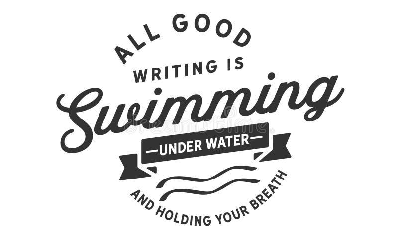 Toute la bonne inscription nage sous l'eau et retient votre souffle illustration de vecteur