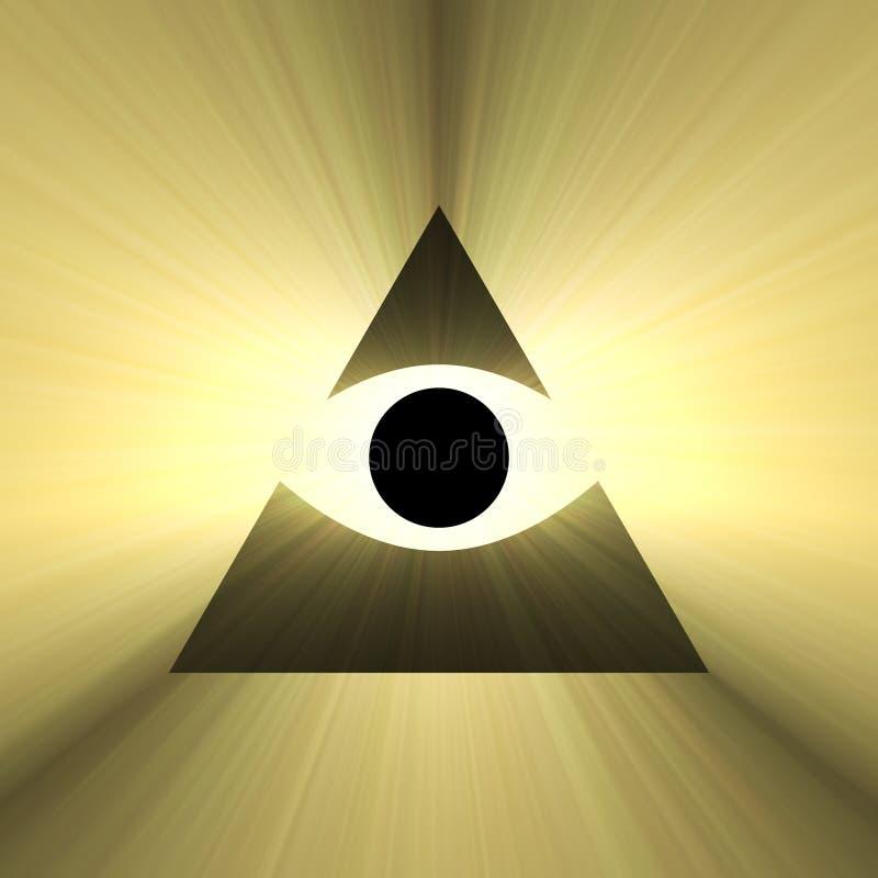 Toute la pyramide voyante d'oeil avec la fusée légère illustration de vecteur