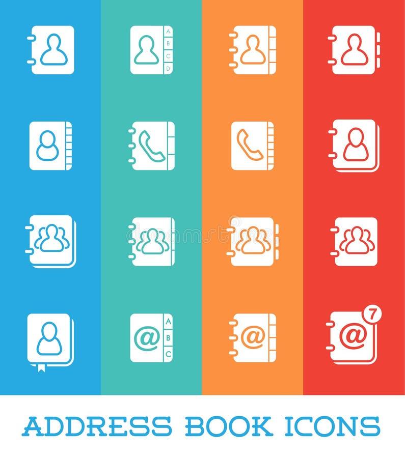 Toutes sortes d'icônes de carnet d'adresses de contactez-nous dans le vecteur FO illustration stock