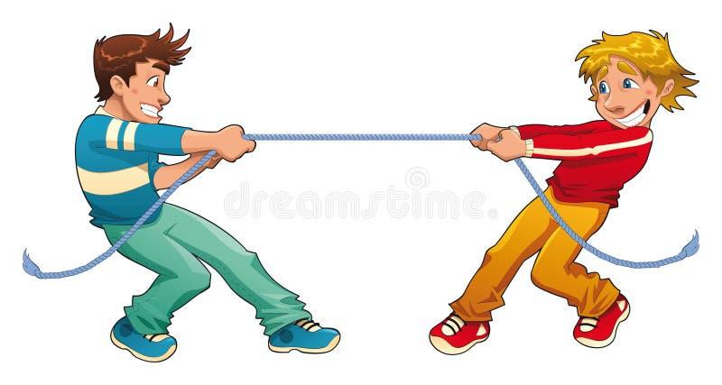 Touwtrekwedstrijd. stock illustratie