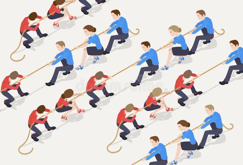 Touwtrekwedstrijd 2 vector illustratie