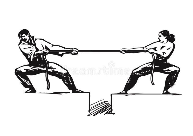Touwtrekwedstrijd 2 De man en de vrouw trekken kabel Bedrijfs concurrerend concept Paar het vechten Geslachtsconflict psychologie stock illustratie