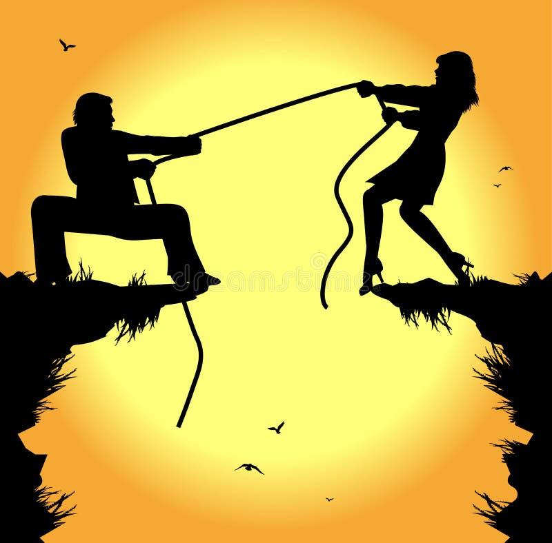 Touwtrekwedstrijd tussen de mens en vrouw stock illustratie