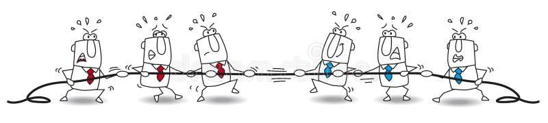 Touwtrekwedstrijd van commercieel team vector illustratie