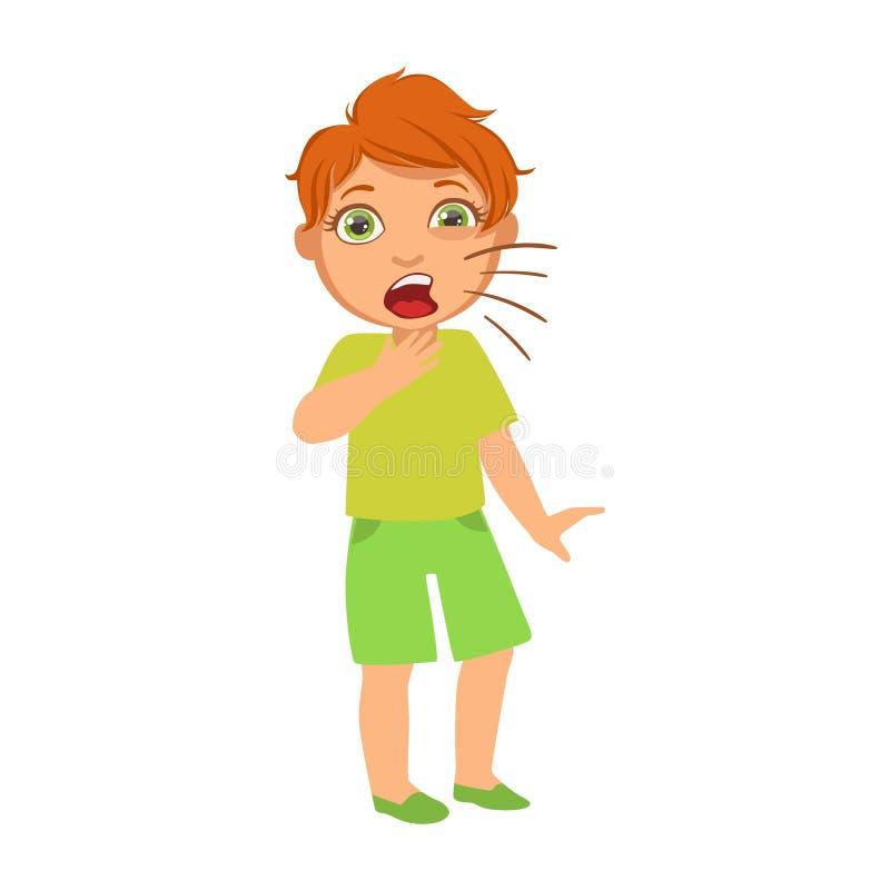 Toux de garçon, enfant malade se sentant souffrant en raison de la maladie, partie d'enfants et séries de problèmes de santé de illustration libre de droits