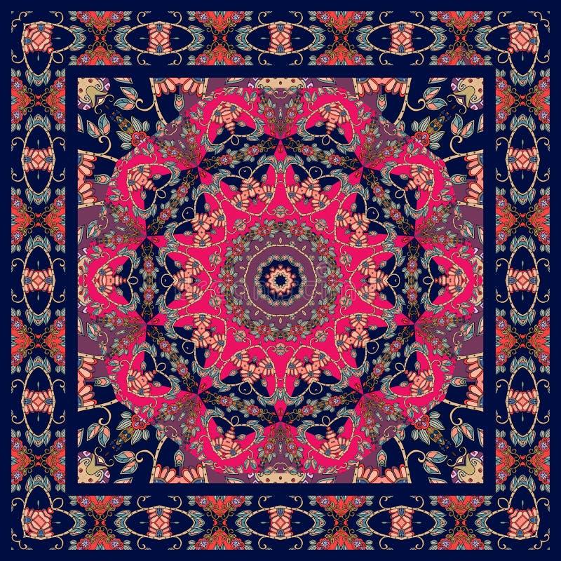 Tovaglia adorabile con la struttura floreale dell'ornamentale e della mandala illustrazione di stock