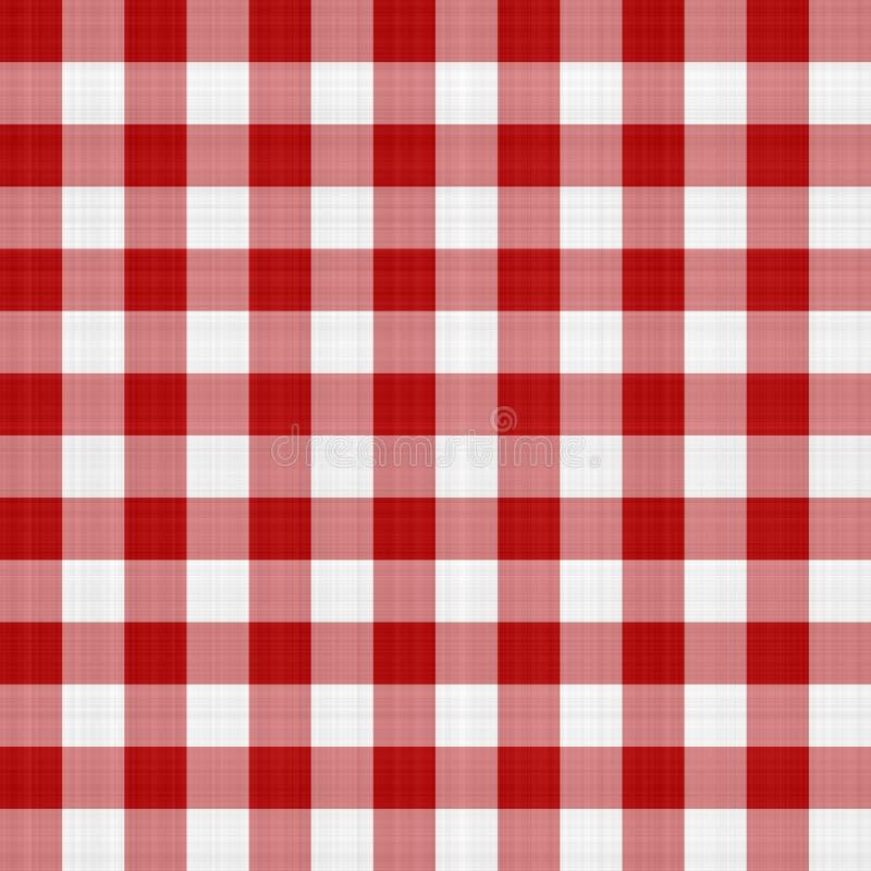 Tovaglia rossa e bianca di picnic illustrazione vettoriale