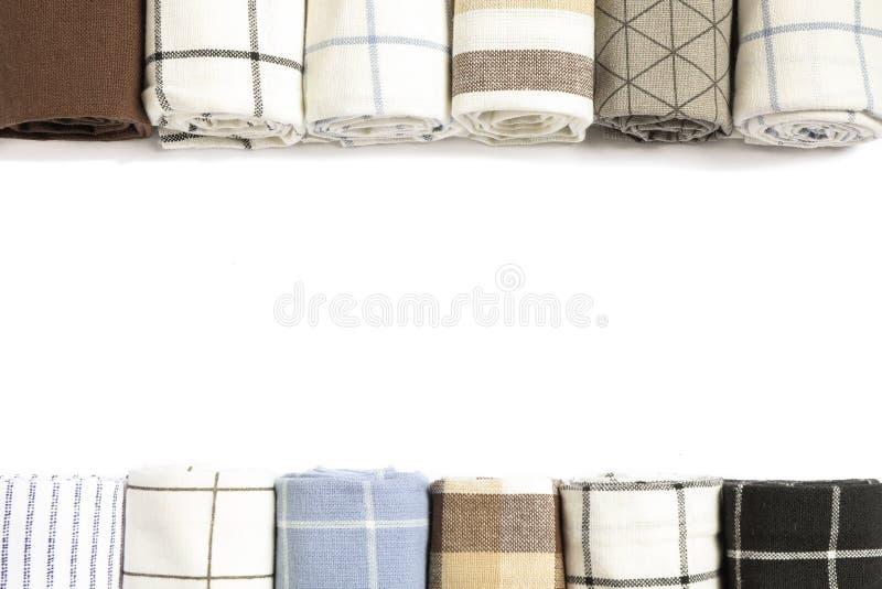 Tovaglioli e spazio piegati differenti del tessuto per testo fotografia stock