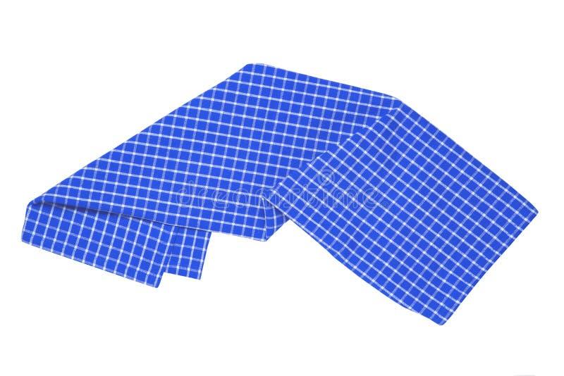 Tovaglioli isolati Primo piano di struttura a quadretti blu e bianca della tovaglia di picnic o del tovagliolo isolato su un fond fotografia stock libera da diritti