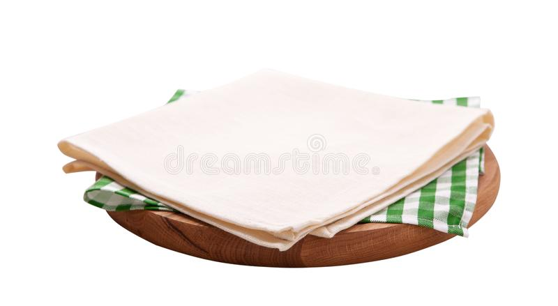 Tovagliolo e bordo per pizza isolata su bianco Tela, asciugamani di piatto su derisione bianca di vista superiore del fondo su Fu fotografia stock libera da diritti