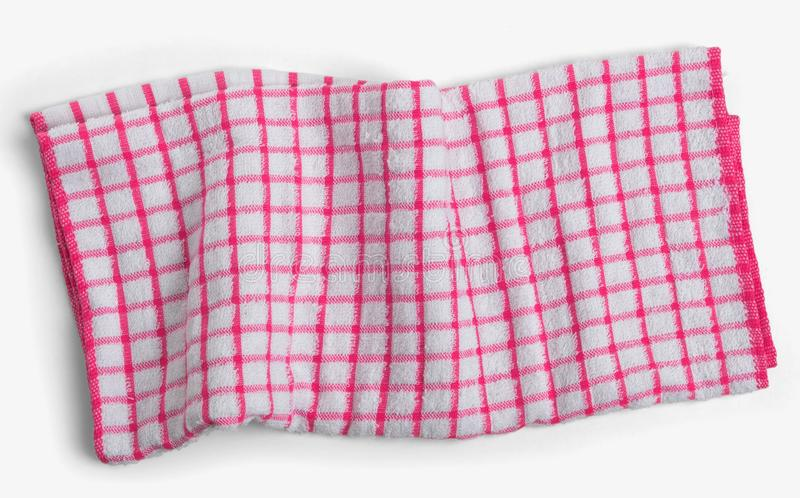 Tovagliolo a quadretti bianco rosso sgualcito della cucina Isolat trascurato dell'asciugamano fotografia stock libera da diritti