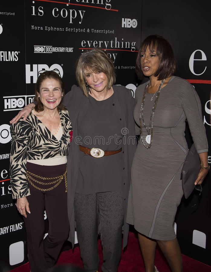 Tovah Feldshuh, Sheila Nevins, and Gayle King. Actress/singer/playwright Tovah Feldshuh, award-winning documentary filmmaker Sheila Nevins, and CBS news and royalty free stock image