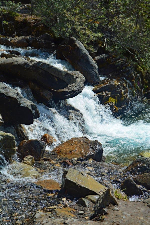 Tovaliten vikvattenfall i Jasper National Park, Alberta, Kanada royaltyfria bilder