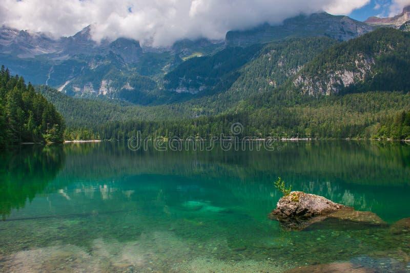 Tovel湖,特伦托自治省美妙的看法夏季的 免版税库存照片