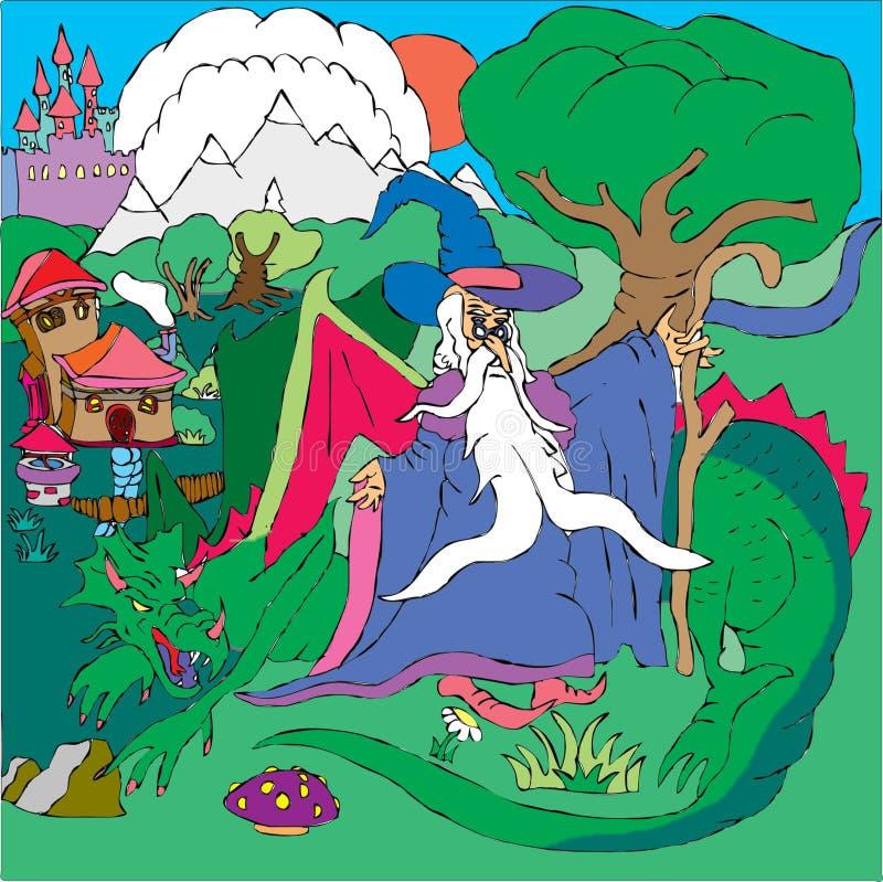 Tovenaar en draak stock illustratie