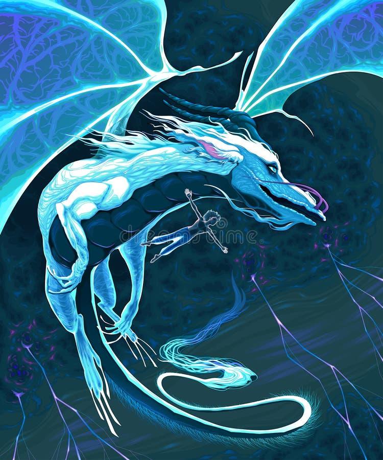 Tovenaar en draak die in het onweer vliegen royalty-vrije stock afbeeldingen