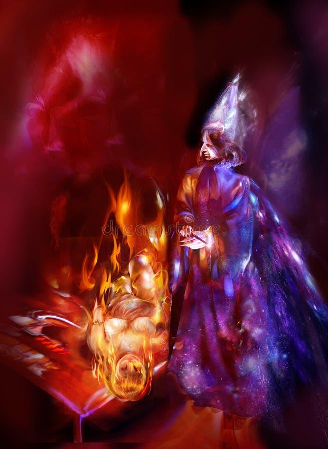 Tovenaar en een vurige humanoid royalty-vrije illustratie