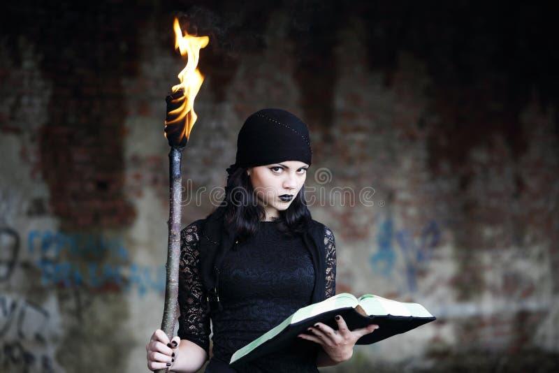 Tovenaar met een toorts royalty-vrije stock afbeeldingen