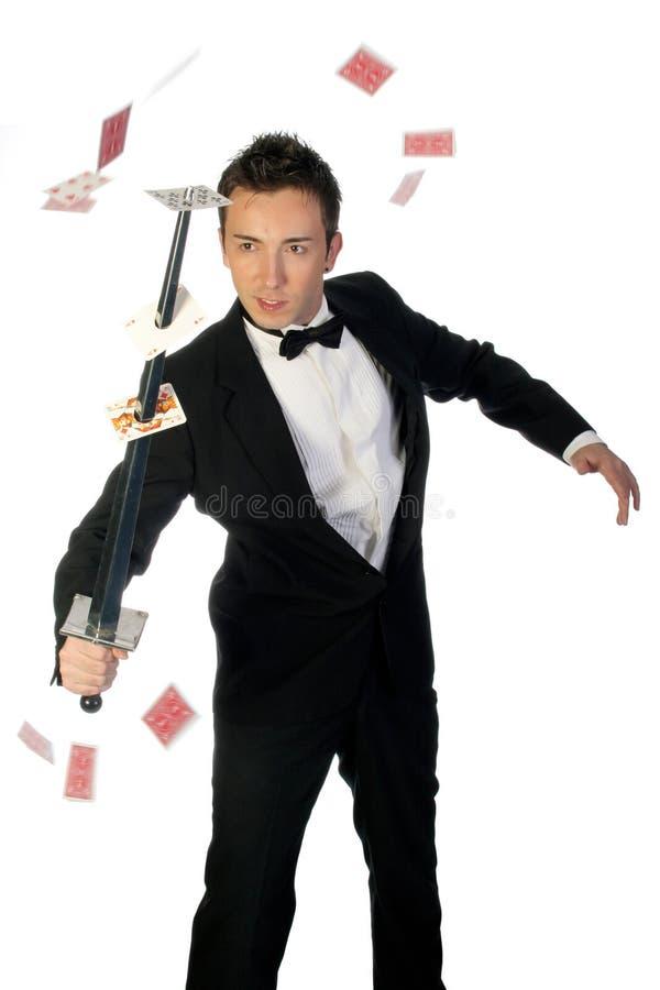 Tovenaar met zwaard en kaarten royalty-vrije stock foto's